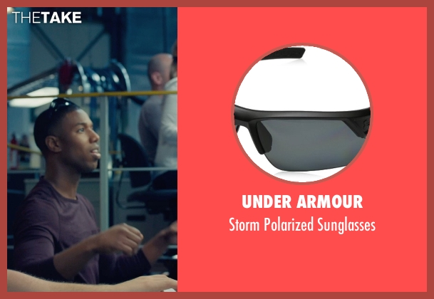 Under Armour black sunglasses from Fantastic Four seen with Michael B. Jordan (Johnny Storm / The Human Torch)