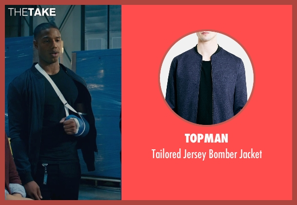 Topman blue jacket from Fantastic Four seen with Michael B. Jordan (Johnny Storm / The Human Torch)
