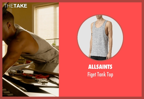 Allsaints gray top from Fantastic Four seen with Michael B. Jordan (Johnny Storm / The Human Torch)