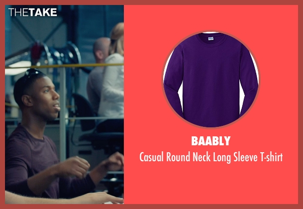 Baably purple t-shirt from Fantastic Four seen with Michael B. Jordan (Johnny Storm / The Human Torch)