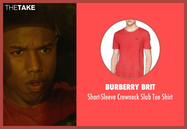Burberry Brit red shirt from Fantastic Four seen with Michael B. Jordan (Johnny Storm / The Human Torch)