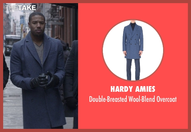 Hardy Amies blue overcoat from That Awkward Moment seen with Michael B. Jordan (Mikey)