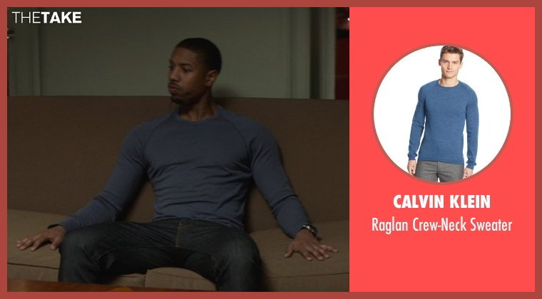 Calvin Klein blue sweater from That Awkward Moment seen with Michael B. Jordan (Mikey)