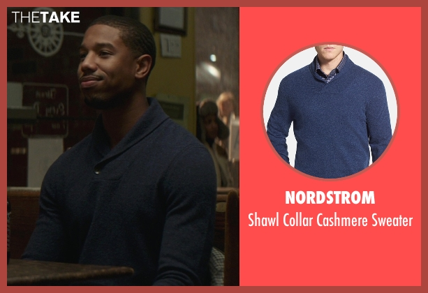 Nordstrom blue sweater from That Awkward Moment seen with Michael B. Jordan (Mikey)