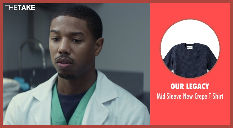 Our Legacy blue t-shirt from That Awkward Moment seen with Michael B. Jordan (Mikey)