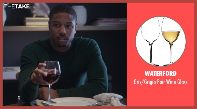 Waterford glass from That Awkward Moment seen with Michael B. Jordan (Mikey)