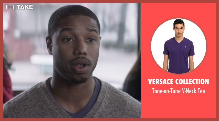 Versace Collection purple tee from That Awkward Moment seen with Michael B. Jordan (Mikey)
