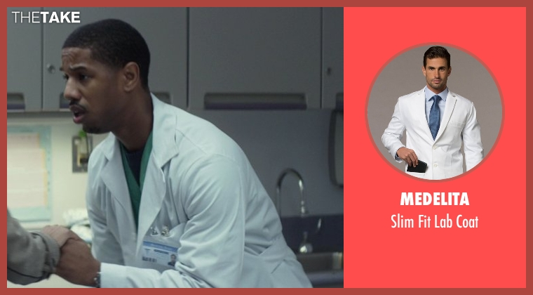 Medelita white coat from That Awkward Moment seen with Michael B. Jordan (Mikey)