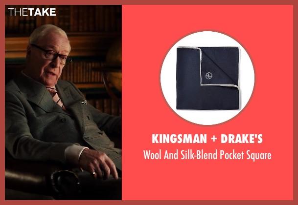Kingsman + Drake's blue square from Kingsman: The Secret Service seen with Michael Caine (Arthur)