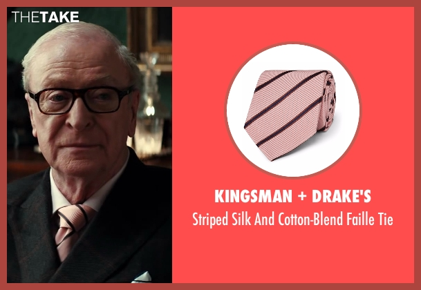 Drake's pink tie from Kingsman: The Secret Service seen with Michael Caine (Arthur)