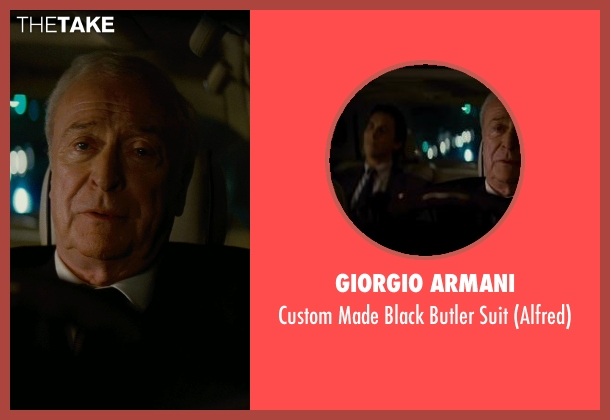 Giorgio Armani black suit from The Dark Knight Rises seen with Michael Caine (Alfred)