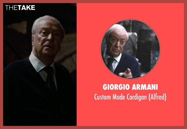 Giorgio Armani blue cardigan from The Dark Knight Rises seen with Michael Caine (Alfred)