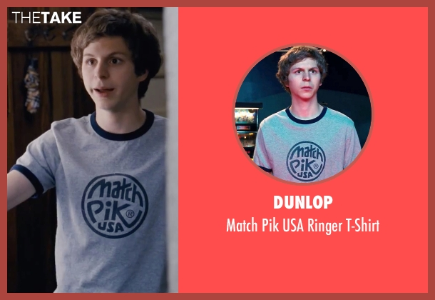 Dunlop blue t-shirt from Scott Pilgrim Vs. The World seen with Michael Cera (Scott Pilgrim)