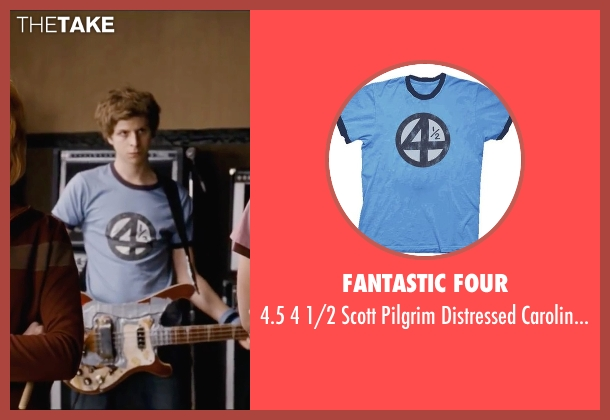 Fantastic Four blue t-shirt from Scott Pilgrim Vs. The World seen with Michael Cera (Scott Pilgrim)