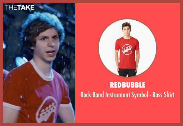 Redbubble red shirt from Scott Pilgrim Vs. The World seen with Michael Cera (Scott Pilgrim)