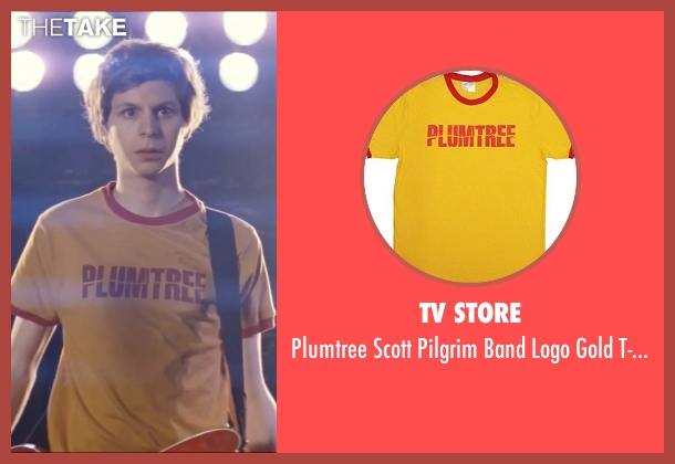 TV Store yellow t-shirt from Scott Pilgrim Vs. The World seen with Michael Cera (Scott Pilgrim)