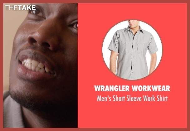 Wrangler Workwear gray shirt from Top Five seen with Michael Che (Paul)