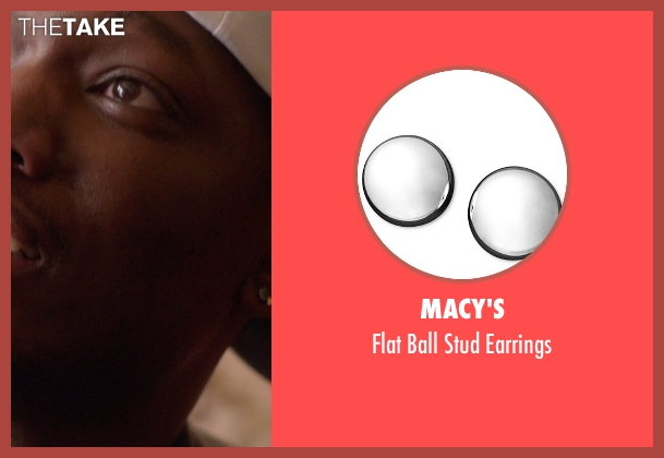 Macy's silver earrings from Top Five seen with Michael Che (Paul)