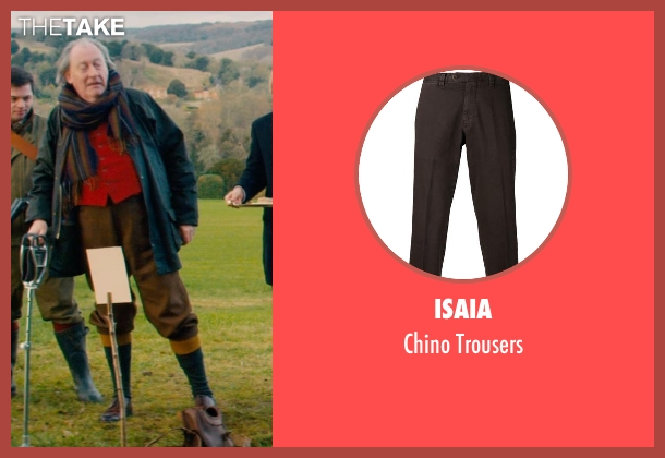 Isaia brown trousers from Mortdecai seen with Michael Culkin (Sir Graham Archer)