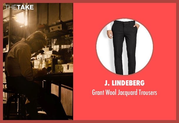 J. Lindeberg black trousers from Ant-Man seen with Michael Douglas (Hank Pym)