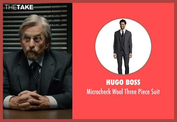Hugo Boss gray suit from Ant-Man seen with Michael Douglas (Hank Pym)