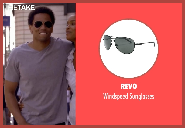 Revo black sunglasses from About Last Night seen with Michael Ealy