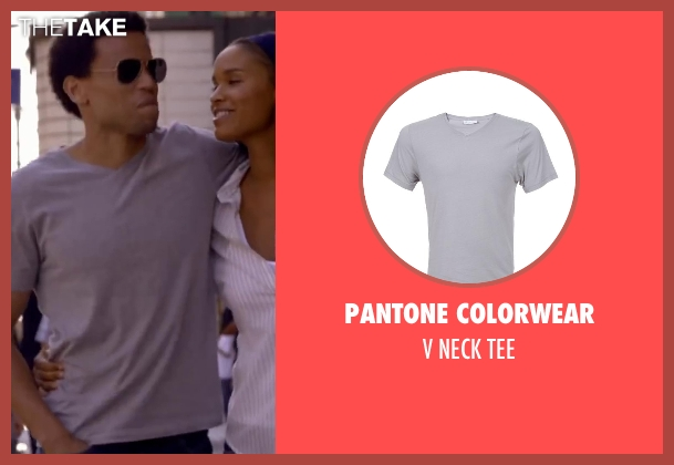 PANTONE COLORWEAR gray tee from About Last Night seen with Michael Ealy
