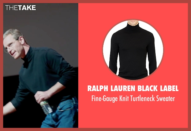 Ralph Lauren Black Label black sweater from Steve Jobs seen with Michael Fassbender (Steve Jobs)