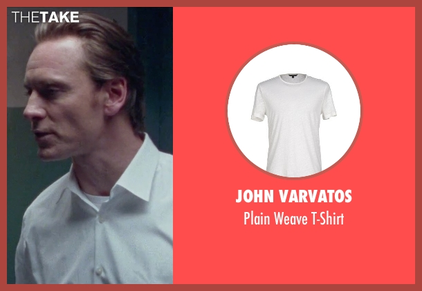 John Varvatos white t-shirt from Steve Jobs seen with Michael Fassbender (Steve Jobs)