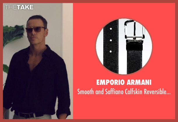 Emporio Armani black belt from The Counselor seen with Michael Fassbender (Counselor)