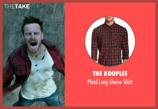 The Kooples red shirt from X-Men: Apocalypse seen with Michael Fassbender (Erik Lehnsherr / Magneto)