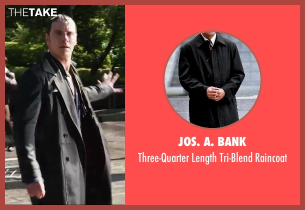 Jos. A. Bank black raincoat from X-Men: Days of Future Past seen with Michael Fassbender (Erik Lehnsherr / Magneto)