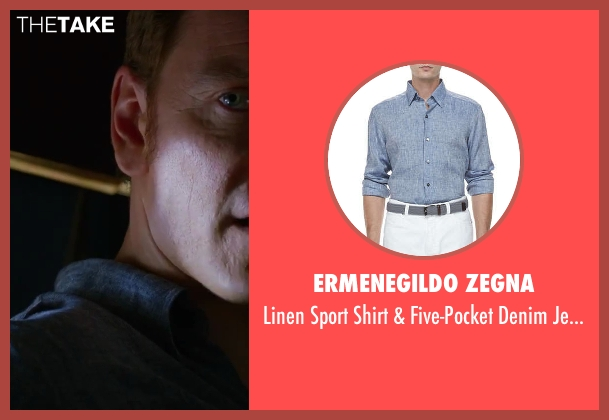 Ermenegildo Zegna blue jeans from X-Men: Days of Future Past seen with Michael Fassbender (Erik Lehnsherr / Magneto)