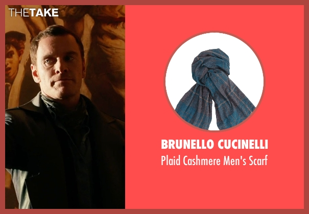 Brunello Cucinelli green scarf from X-Men: Days of Future Past seen with Michael Fassbender (Erik Lehnsherr / Magneto)