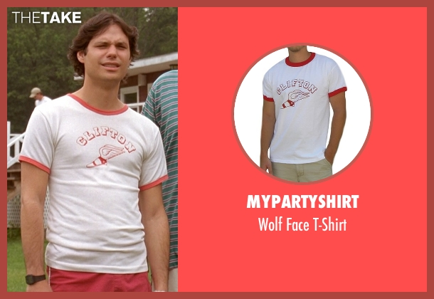 MyPartyShirt white t-shirt from Wet Hot American Summer seen with Michael Ian Black (McKinley)