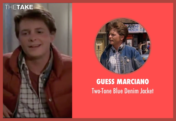 Guess Marciano blue jacket from Back To The Future seen with Michael J. Fox (Marty McFly)