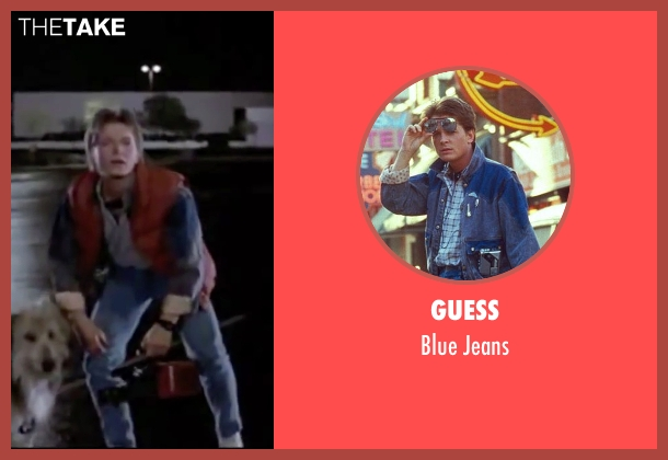 Guess blue jeans from Back To The Future seen with Michael J. Fox (Marty McFly)