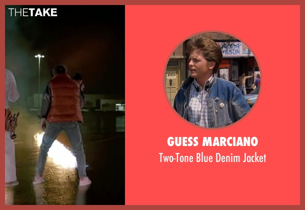 Guess Marciano blue jacket from Back To The Future Part II seen with Michael J. Fox (Marty McFly)
