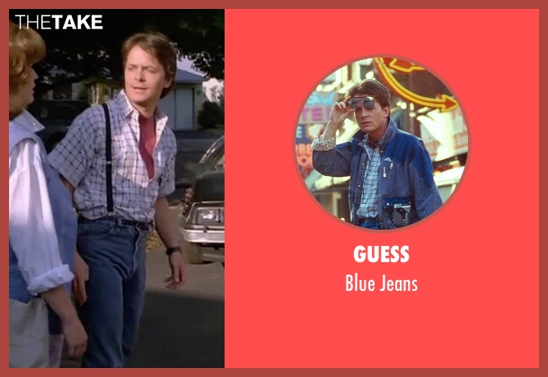 Guess blue jeans from Back To The Future Part II seen with Michael J. Fox (Marty McFly)