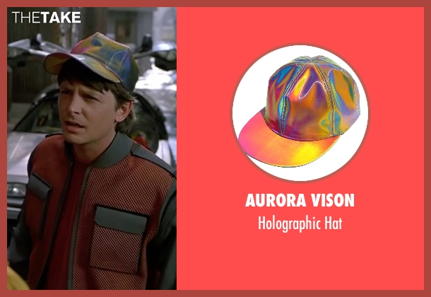 Aurora Vison hat from Back To The Future Part II seen with Michael J. Fox (Marty McFly)