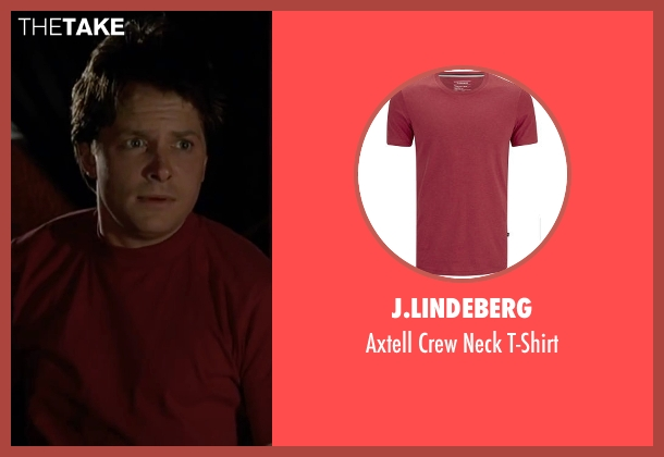 J.Lindeberg red t-shirt from Back To The Future Part II seen with Michael J. Fox (Marty McFly)