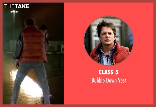Class 5 red vest from Back To The Future Part II seen with Michael J. Fox (Marty McFly)