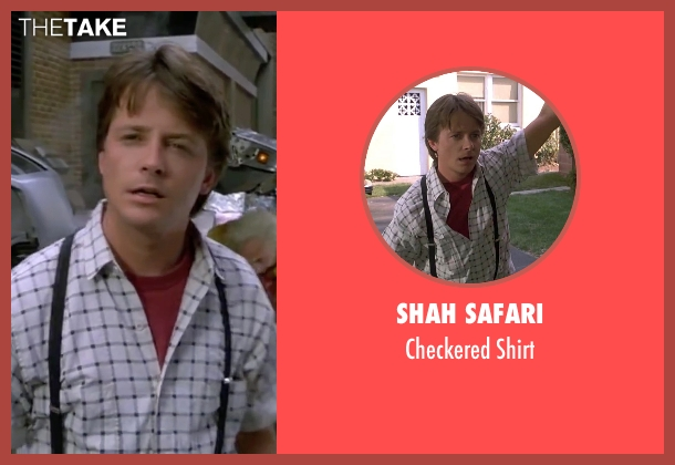 Shah Safari white shirt from Back To The Future Part II seen with Michael J. Fox (Marty McFly)