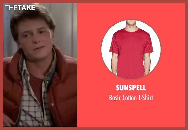 Sunspell red t-shirt from Back To The Future seen with Michael J. Fox (Marty McFly)