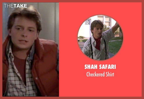 Shah Safari white shirt from Back To The Future seen with Michael J. Fox (Marty McFly)