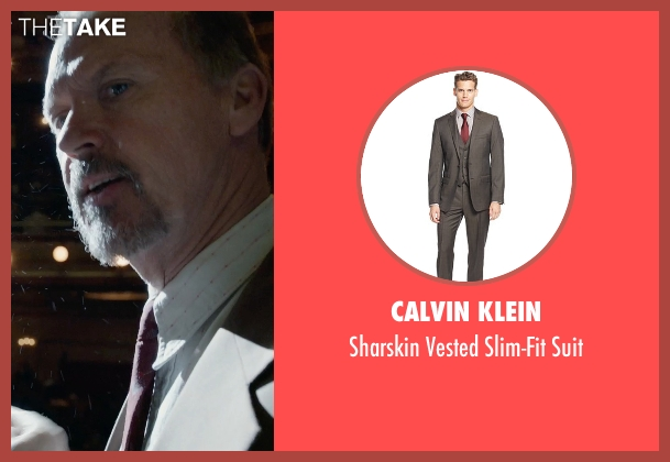 Calvin Klein brown suit from Birdman seen with Michael Keaton (Riggan)