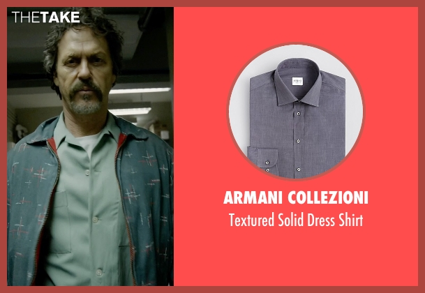 Armani Collezioni gray shirt from Birdman seen with Michael Keaton (Riggan)