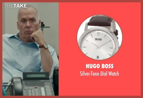 Hugo Boss brown watch from Spotlight seen with Michael Keaton (Walter 'Robby' Robinson)