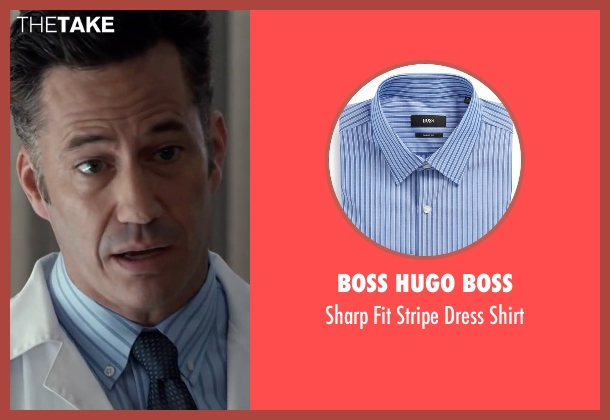 Boss Hugo Boss blue shirt from The Longest Ride seen with Michael Lowry (Luke's Doctor)