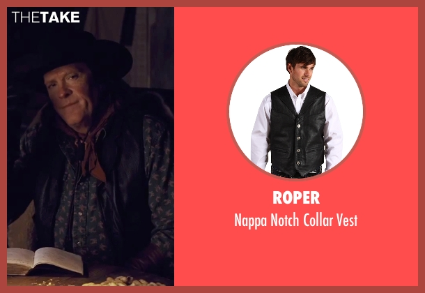 Roper black vest from The Hateful Eight seen with Michael Madsen (Joe Gage)